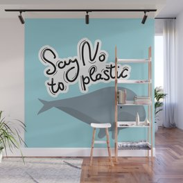 Say no to plastic. Whale, sea, ocean.  Pollution problem concept Eco, ecology banner poster. Wall Mural