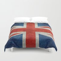 british flag Duvet Covers featuring UK British Union Jack flag retro style by Bruce Stanfield