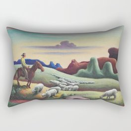 Navajo Sands, Monument Valley shepard with flock of sheep landscape painting by Thomas Hart Benton Rectangular Pillow