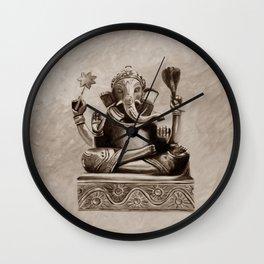 Ganesha - sepia Wall Clock