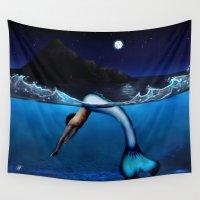 mermaids Wall Tapestries featuring Mako Mermaids by Pedro Cabañas