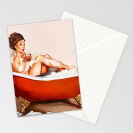 Pinup Girl Taking A Bath With A Drink Stationery Cards