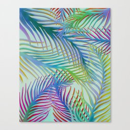 Palm Leaves Pattern - Blue, Purple, Green Canvas Print