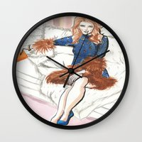 kendrick lamar Wall Clocks featuring Anna Kendrick  by Kim Ly