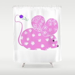 Miss Mousy Pinkie with Purple Petunia Shower Curtain