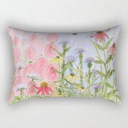 Botanical Floral Watercolor Pink Blue Yellow Flowers Blue Skies Rectangular Pillow