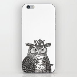 Great Horned Owl Wearing a Glittering Crown iPhone Skin