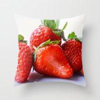 strawberry Throw Pillows featuring Strawberry by Nicole Mason-Rawle