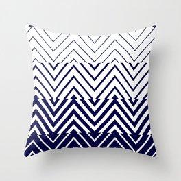 Chevron Ombre Stencil | navy white Throw Pillow