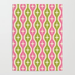 Mid century Modern Bulbous Star Pattern Pink and Green Poster