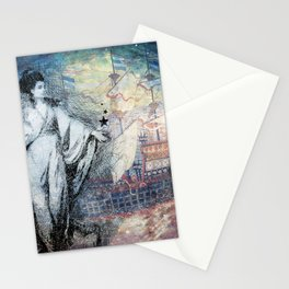 Inspire - A muse and her ship of dreams collage Stationery Cards