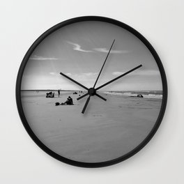 low tide sand beach sunny summer day at ouddorp zeeland netherlands europe black white Wall Clock