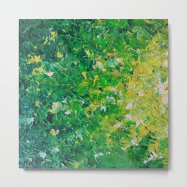 LAKE GRASS - Original Acrylic Abstract Painting Lake Seaweed Hunter Forest Kelly Green Water Lovely Metal Print