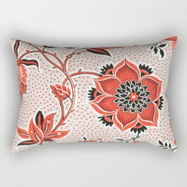 Orange dots and small black dots flowers from the 18th century wallpaper in high resolution Rectangular Pillow