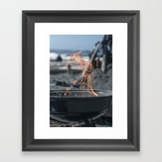 Beach Grilling Framed Art Print