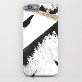 Sassy: a minimal abstract mixed-media piece in black, white, and gold by Alyssa Hamilton Art iPhone Case