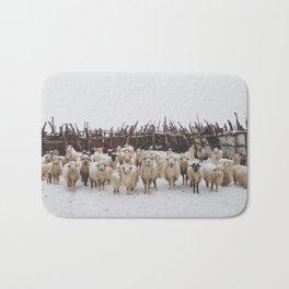 Snowy Sheep Stare Bath Mat