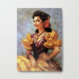 Mexican Golden Flamenco Calendar Girl by Jesus Helguera Metal Print