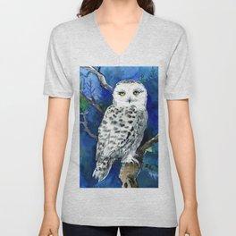 Snowy Owl, Northern Owl, White Owl, Owl art Winter woodland Unisex V-Neck