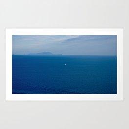Boat in the blue sea Art Print
