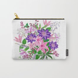 Bouquet with pink and violet clematis flowers Carry-All Pouch