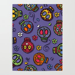 Sugar Skulls (on purple) - calavera, skull,  halloween, illustration Poster