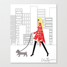 Red Jacket & the City Fashion Illustration Canvas Print