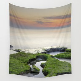 Green, white a red coast Wall Tapestry