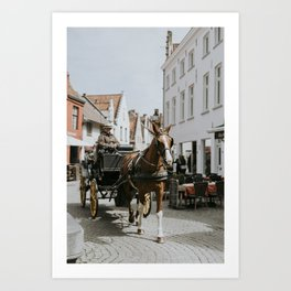 Horse and Buggy on Cobblestone Street, Belgium Art Print