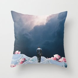 The Path to Solitude is full of Winter Roses Throw Pillow