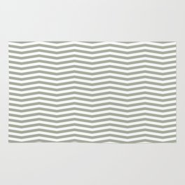 Desert Sage Grey Green and White Chevron Stripe Rug