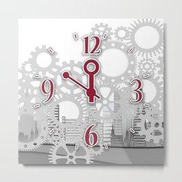 Gear Clock Metal Print