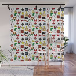 Super Mario Pattern Color Wall Mural