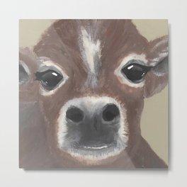 Original Painting - Farmyard Friends - Calf - Cute cow painting Metal Print