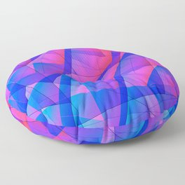 Bright contrasting fragments of crystals on irregularly shaped blue and pink triangles. Floor Pillow