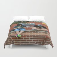 text Duvet Covers featuring Text Chat by IowaShots