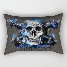 Grit and Guts Skull Neon Blue Rectangular Pillow