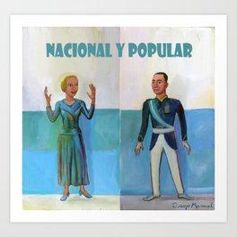 Evita y Juan Perón. Nacional y popular. Art Print
