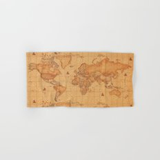 World Map LeaTher Hand & Bath Towel