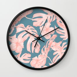 Tropical Palm Leaves and Hibiscus Pink Teal Blue Wall Clock