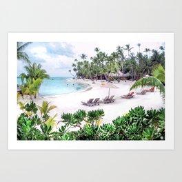 Bora Bora Tahiti Beach Scene 2  Art Print