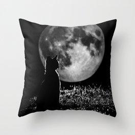 Lunar cat Throw Pillow