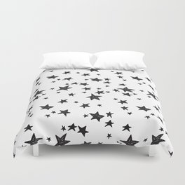 Linocut black and white stars outer space astronauts minimal Duvet Cover