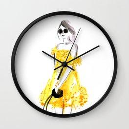 Yellow summer dress fashion illustration Wall Clock