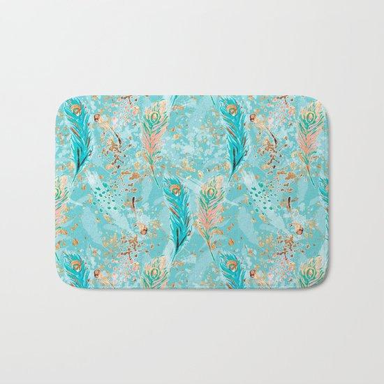 Feather peacock peach mint #8 Bath Mat