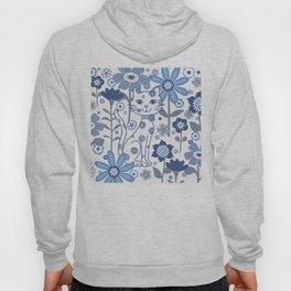 Blue and White Garden Cat Hoody