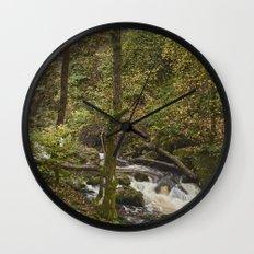 Lodore Falls waterfall after heavy rain. Borrowdale, Cumbria, UK. Wall Clock