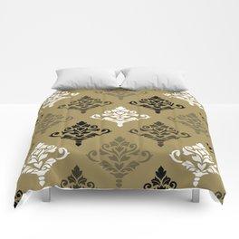 Cresta Damask Ptn Black White Bronzes Gold Comforters
