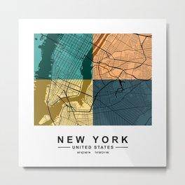 New York Colorful Street Map Metal Print