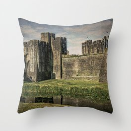 The Gatehouse At Caerphilly Castle Throw Pillow